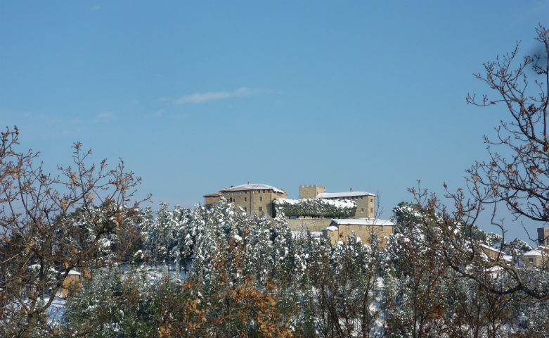 Castle of Montegiove in winter
